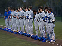 Lakeland Christian Vikings stand for the national anthem before a game against the Calvary Christian Warriors on February 27, 2021 at Calvary Christian High School in Clearwater, Florida.  (Mike Janes/Four Seam Images)