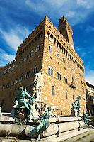 The Fountain of Neptune by Bartolomeo Ammannati (1575), in front of the Palazzo Vecchio ,  Piazza della Signoria in Florence, Italy,