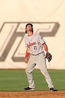 Seth Spivey #11 of the Spokane Indians during a game against the Salem-Keizer Volcanoes at Volcanoes Stadium on July 26, 2014 in Keizer, Oregon. Spokane defeated Salem-Keizer, 4-1. (Larry Goren/Four Seam Images)