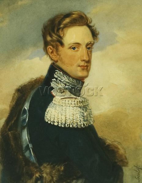 Portrait of Grand Duke Nicholas Pavlovich by Sokolov, Pyotr Fyodorovich (1791-1848).<br /> Watercolour on paper, Romanticism, Year: 1820s, School: Russia, Museum: A. Pushkin Memorial Museum, St. Petersburg.