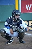Juan Camacho (19) of the Everett AquaSox catches in the bullpen before a game against the Boise Hawks at Everett Memorial Stadium on July 20, 2017 in Everett, Washington. Everett defeated Boise, 13-11. (Larry Goren/Four Seam Images)