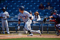 Jacksonville Jumbo Shrimp Bryson Brigman (6) during a Southern League game against the Mississippi Braves on May 5, 2019 at Trustmark Park in Pearl, Mississippi.  Mississippi defeated Jacksonville 1-0 in ten innings.  (Mike Janes/Four Seam Images)