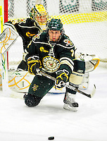 12 November 2010: University of Vermont Catamount defenseman Drew MacKenzie, a Junior from New Canaan, CT, in action against the Boston College Eagles at Gutterson Fieldhouse in Burlington, Vermont. The Eagles edged out the Cats 3-2 in the first game of their weekend series. Mandatory Credit: Ed Wolfstein Photo