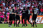 AC Milan Forward Patrick Cutrone (L) celebrating his goal with his teammates during the 2017 International Champions Cup China  match between FC Bayern and AC Milan at Universiade Sports Centre Stadium on July 22, 2017 in Shenzhen, China. Photo by Marcio Rodrigo Machado / Power Sport Images