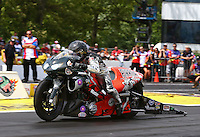 Jun. 2, 2013; Englishtown, NJ, USA: NHRA pro stock motorcycle rider Shawn Gann during the Summer Nationals at Raceway Park. Mandatory Credit: Mark J. Rebilas-