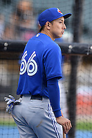 Toronto Blue Jays second baseman Munenori Kawasaki (66) during batting practice before a game against the Chicago White Sox on August 15, 2014 at U.S. Cellular Field in Chicago, Illinois.  Chicago defeated Toronto 11-5.  (Mike Janes/Four Seam Images)