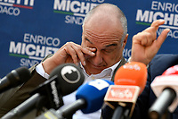 The candidate mayor of Rome for the right-center coalition Enrico Michetti attends an electoral campaign press conference for the mayoral election in Spinaceto, a peripheral neighborhood in the west of Rome on October 1st 2021. Photo Andrea Staccioli Insidefoto
