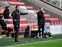Fleetwood Town manager Joey Barton appeals for a penalty<br /> <br /> Photographer Chris Vaughan/CameraSport<br /> <br /> EFL Sky Bet League One - Fleetwood Town v Lincoln City - Saturday 17th October 2020 - Highbury Stadium - Fleetwood<br /> <br /> World Copyright © 2020 CameraSport. All rights reserved. 43 Linden Ave. Countesthorpe. Leicester. England. LE8 5PG - Tel: +44 (0) 116 277 4147 - admin@camerasport.com - www.camerasport.com