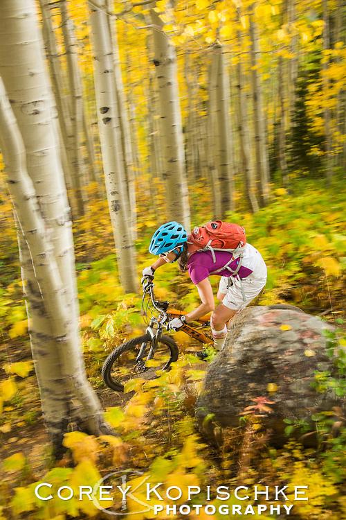 Fall mountain biking through the aspens.