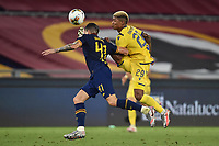 Eddie Salcedo of Hellas Verona and Roger Ibanez of Roma compete for the ball during the Serie A football match between AS Roma and Hellas Verona at Olimpico stadium in Rome ( Italy ), July 15, 2020. Play resumes behind closed doors following the outbreak of the coronavirus disease. Photo Antonietta Baldassarre / Insidefoto