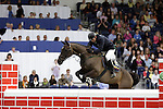August 08, 2009: Dermot Lennon (IRL) aboard The Pirate competing in the Puissance event . Land Rover International Puissance. Failte Ireland Horse Show. The RDS, Dublin, Ireland.