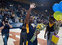 Afure Jemerigbe of California waves to the fans before the game against Washington at Haas Pavilion in Berkeley, California on March 1st, 2014.   Washington defeated California, 70-65.