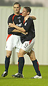 10/08/2004   Copyright Pic: James Stewart.File Name : jspa04_falkirk_v_montrose.DARRYLL DUFFY FEELS THE PAIN OF A CHALLENGE AS HE IS CONGRATULATED BY ANDY THOMSON AFTER HE SCORES FALKIRK'S FIRST....Payments to :.James Stewart Photo Agency 19 Carronlea Drive, Falkirk. FK2 8DN      Vat Reg No. 607 6932 25.Office     : +44 (0)1324 570906     .Mobile  : +44 (0)7721 416997.Fax         :  +44 (0)1324 570906.E-mail  :  jim@jspa.co.uk.If you require further information then contact Jim Stewart on any of the numbers above.........