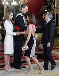 King Felipe VI of Spain and Queen Letizia of Spain with Real Madrid's President Florentino Perez and the ex model Isabel Preysler during the reception at the Royal Palace after the King's official coronation at the parliamen. June 19 ,2014. (ALTERPHOTOS/Pool)