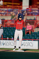 Erie SeaWolves Cam Gibson (14) points to teammates during an Eastern League game against the Richmond Flying Squirrels on August 28, 2019 at UPMC Park in Erie, Pennsylvania.  Richmond defeated Erie 6-4 in the first game of a doubleheader.  (Mike Janes/Four Seam Images)