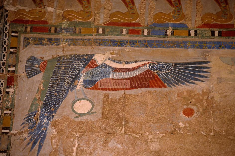 Afrique/Egypte/Deir El-Bahari: Le temple d'Hatchepoust - Chapelle d'Anubis - Oiseau peint