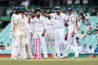 8th January 2021; Sydney Cricket Ground, Sydney, New South Wales, Australia; International Test Cricket, Third Test Day Two, Australia versus India; the India team congratulates Ravindra Jadeja on the wicket of Matthew Wade of Australia