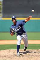 Tampa Bay Rays pitcher Braulio Lara #73 during a Spring Training game against the Detroit Tigers at Joker Marchant Stadium on March 29, 2013 in Lakeland, Florida.  (Mike Janes/Four Seam Images)