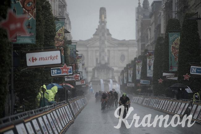 Racing down the Bondgenotenlaan in a rainstorm<br /> <br /> GP Jef Scherens - Leuven 2016