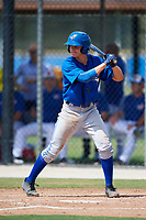 Toronto Blue Jays third baseman Addison Barger (8) at bat during a Florida Instructional League game against the Pittsburgh Pirates on September 20, 2018 at the Englebert Complex in Dunedin, Florida.  (Mike Janes/Four Seam Images)