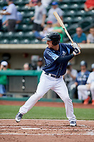 Columbus Clippers right fielder Mike Papi (39) at bat during a game against the Gwinnett Stripers on May 17, 2018 at Huntington Park in Columbus, Ohio.  Gwinnett defeated Columbus 6-0.  (Mike Janes/Four Seam Images)