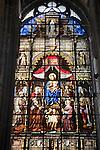 Stained Glass Window, St Niklaaskerk - Nicholas Church, Ghent, Belgium, Europe