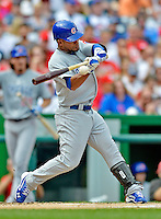 3 September 2012: Chicago Cubs outfielder Dave Sappelt in action against the Washington Nationals at Nationals Park in Washington, DC. The Nationals edged out the visiting Cubs 2-1, in the first game of heir 4-game series. Mandatory Credit: Ed Wolfstein Photo