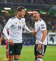 Leon GORETZKA, DFB 19 celebrates with Sandro WAGNER, DFB 9 <br /> Germany - Azerbaijan 5-1<br /> FIFA World Championships Qualifiers  am 08.10.2017 in Kaiserslautern, Germany.<br /> <br />  *** Local Caption *** © pixathlon +++ tel. +49 - (040) - 22 63 02 60 - mail: info@pixathlon.de