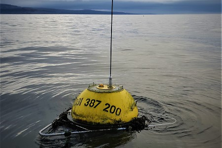 The wave buoy pictured after deployment in Brandon Bay on the 1, December 2020. Photo: Eugene Farrell, NUI Galway