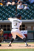 Micah Johnson (3) of the Charlotte Knights at bat against the Indianapolis Indians at BB&T BallPark on June 21, 2015 in Charlotte, North Carolina.  The Knights defeated the Indians 13-1.  (Brian Westerholt/Four Seam Images)