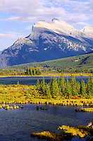Canada, Alberta, Banff National Park. Mount Rundle and Vermilion Lake