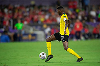 ORLANDO, FL - JULY 20: Damion Lowe #17 of Jamaica dribbles the ball during a game between Costa Rica and Jamaica at Exploria Stadium on July 20, 2021 in Orlando, Florida.