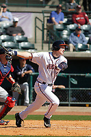 University of Virginia Cavaliers infielder Pavin Smith (10) at bat during a game against the Liberty University Flames at Joseph P. Riley Ballpark on February 17, 2017 in Charleston, South Carolina. Virginia defeated Liberty 10-2. (Robert Gurganus/Four Seam Images)