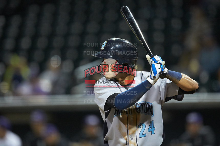 Marten Gasparini (24) of the Wilmington Blue Rocks at bat against the Winston-Salem Dash at BB&T Ballpark on April 16, 2019 in Winston-Salem, North Carolina. The Blue Rocks defeated the Dash 4-3. (Brian Westerholt/Four Seam Images)