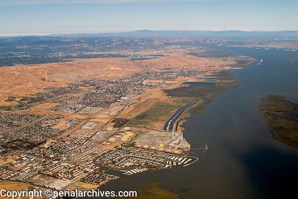 aerial photograph of Antioch, Pittsburg, Contra Costa County, California and Sacramento River
