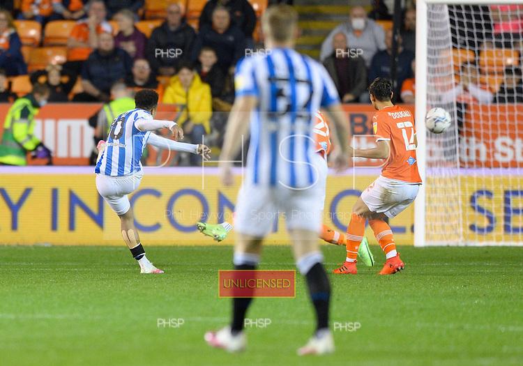 14/09/2021 Sky Bet Championship Blackpool v Huddersfield Town  <br /> <br /> Josh Koroma scores the first  Huddersfield Town goal