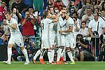 Real Madrid's Luca Modric, Gareth Bale, Morata and Nacho during the XXXVII Bernabeu trophy between Real Madrid and Stade de Reims at the Santiago Bernabeu Stadium. August 15, 2016. (ALTERPHOTOS/Rodrigo Jimenez)