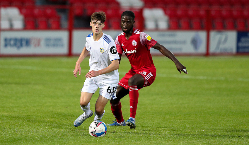 Leeds United U21's Sam Leverett shields the ball from Accrington Stanley's Mohammed Sangare<br /> <br /> Photographer Alex Dodd/CameraSport<br /> <br /> EFL Trophy Northern Section Group G - Accrington Stanley v Leeds United U21 - Tuesday 8th September 2020 - Crown Ground - Accrington<br />  <br /> World Copyright © 2020 CameraSport. All rights reserved. 43 Linden Ave. Countesthorpe. Leicester. England. LE8 5PG - Tel: +44 (0) 116 277 4147 - admin@camerasport.com - www.camerasport.com