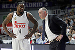 Real Madrid's coach Pablo Laso with his player K.C. Rivers during Liga Endesa ACB match.March 29,2015. (ALTERPHOTOS/Acero)