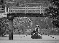 """Almost zero visibility during a heavy Monsoon rain storm. Near Can Tho, the hub of the Mekong Delta (Vietnamese: Đồng bằng Sông Cửu Long """"Nine Dragon river delta""""), also known as the Western Region (Vietnamese: Miền Tây or the South-western region (Vietnamese: Tây Nam Bộ) is the region in southwestern Vietnam where the Mekong River approaches and empties into the sea through a network of distributaries. The Mekong delta region encompasses a large portion of southwestern Vietnam of 39,000 square kilometres (15,000sqmi). The size of the area covered by water depends on the season.<br /> The Mekong Delta has been dubbed as a """"biological treasure trove"""". Over 1,000 animal species were recorded between 1997 and 2007 and new species of plants, fish, lizards, and mammals has been discovered in previously unexplored areas, including the Laotian rock rat, thought to be extinct."""