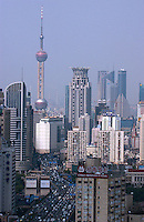 An overview of Shanghai city, China.  Shanghai is China's most developed and most modern city, boasting some the coutries best architecture and infrastructure..
