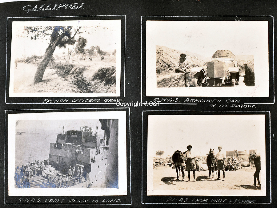 BNPS.co.uk (01202 558833)<br /> Pic: C&T/BNPS<br /> <br /> Around Gallipoli - french graves, a british armoured car in a dug out and a resupply ship.<br /> <br /> Never before seen photos of the disastrous Gallipoli campaign have come to light over a century later.<br /> <br /> The fascinating snaps were taken by Sub Lieutenant Gilbert Speight who served in the Royal Naval Air Service in World War One.<br /> <br /> They feature in his photo album which covers his eventful war, including a later stint in Egypt.<br /> <br /> There are dramatic photos of the Allies landing at X Beach, as well as sobering images of a mass funeral following the death of 17 Brits. Another harrowing image shows bodies lined up in a mass grave.<br /> <br /> The album, which also shows troops during rare moments of relaxation away from the heat of battle, has emerged for sale with C & T Auctions, of Ashford, Kent. It is expected to fetch £1,500.