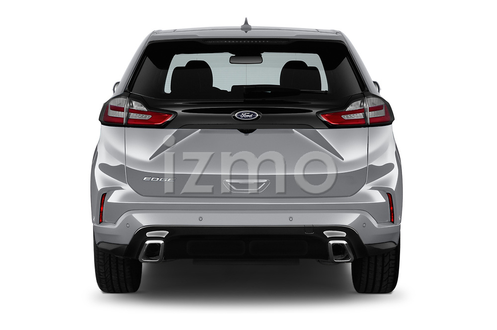 Straight rear view of a 2019 Ford Edge ST Line 5 Door SUV stock images