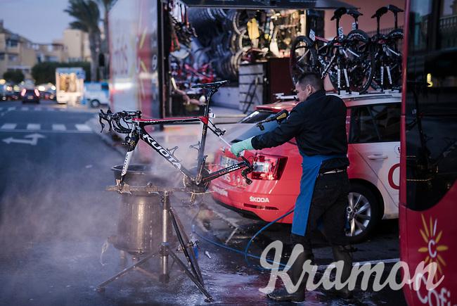 Team Cofidis mechanics working into the night<br /> <br /> Almeria, Spain<br /> february 2019<br /> <br /> ©kramon