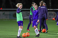 Charlotte Tison (20) of Anderlecht pictured with Laura Deloose (14) of Anderlecht ahead of a female soccer game between  Racing Genk Ladies and RSC Anderlecht on the 16 th matchday of the 2020 - 2021 season of Belgian Scooore Womens Super League , friday 12 th of March 2021  in Genk , Belgium . PHOTO SPORTPIX.BE   SPP   SEVIL OKTEM