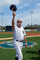 New York Yankees Goose Gossage tips his hat to the crowd before a Spring Training game against the Detroit Tigers on March 2, 2016 at George M. Steinbrenner Field in Tampa, Florida.  New York defeated Detroit 10-9.  (Mike Janes/Four Seam Images)