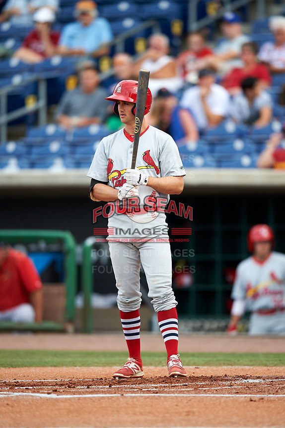 Palm Beach Cardinals first baseman Danny Diekroeger (4) at bat during a game against the Clearwater Threshers on April 15, 2017 at Spectrum Field in Clearwater, Florida.  Clearwater defeated Palm Beach 2-1.  (Mike Janes/Four Seam Images)
