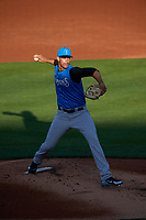 Tampa Tarpons starting pitcher Freicer Perez (37) delivers a pitch during a game against the Lakeland Flying Tigers on April 6, 2018 at Publix Field at Joker Marchant Stadium in Lakeland, Florida.  Lakeland defeated Tampa 6-5.  (Mike Janes/Four Seam Images)
