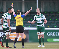 20th February 2021; Trailfinders Sports Club, London, England; Trailfinders Challenge Cup Rugby, Ealing Trailfinders versus Doncaster Knights; Bobby de Wee of Ealing Trailfinders receives a yellow card despite protests from Rayn Smid of Ealing Trailfinders