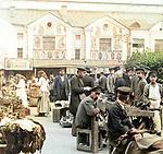 Traders wares in the Tartar market, St. Petersburg, Russia. 1903.